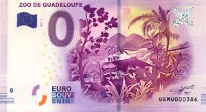 97 BOUILLANTE Zoo de Guadeloupe, N° de la 4ème, 2017, Billet Euro Souvenir