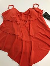 NWT MAGICSUIT RITA TIERED RUFFLE ORANGE FLAMINGO TANKINI TOP 10