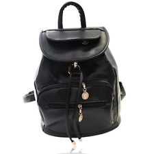 Fashion Protable Casual Pure Pattern PU Leather Travel Shoulder Backpack Black