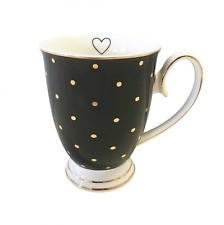 Bombay Duck Negro y oro irregulares Taza en negro con el corazón, en Caja De Regalo
