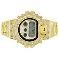 Custom Casio G-Shock DW6900-Diverso Gold Finish Iced Out Simulated Diamonds NEW