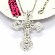 Women's Silver-Plated Clear Rhinestone Cross Betsey Johnson Pendant  Necklace