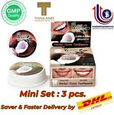 Mini-Set 3pcs Thai Natural Herb Clove Toothpaste Coconut Oil Whitening Teeth