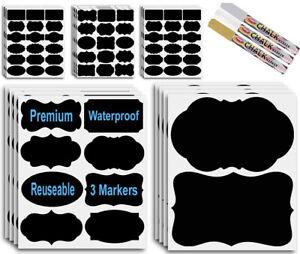 Premify 8 Large Black  (4X6 Inch) + 200 Standard Chalkboard Labels Waterproof