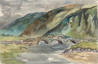 IMPRESSIONIST RIVER & BRIDGE LANDSCAPE Watercolour Painting - 20TH CENTURY