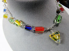 """Sterling Silver Asymmetrical Cane Furnace Art Glass Colorful Bead 21"""" Necklace"""