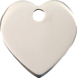 """Red Dingo Stainless Steel """"Heart"""" Pet Cat & Dog ID Tag- Free Engraving"""