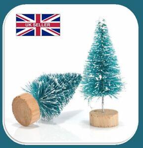 10x Mini Sisal Bottle Brush CHRISTMAS TREES Santa Snow Frost Village BQP