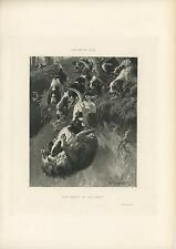 ANTIQUE HOUNG DOGS CLIFF DEATH OF THE WOLF HUNTING HUNT CLIFF OLD ART PRINT