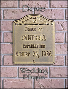 Whitehall Dove Wedding-Anniversary Plaque Sign  Choose from 17 Colors Rust Free