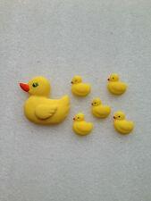 Edible fondant icing large duck + 5 little ducks - cake topper