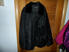 Ladies shiny black winter coat with detachable faux fur collar size L