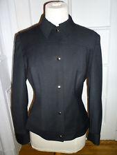 D&G DOLCE & GABBANA Black Lightweight Wool Snap Front Jacket, Size 44