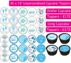 30 IT'S A BOY EDIBLE WAFER & ICING CUPCAKES TOPPERS PARTY BIRTHDAY BABY SHOWER