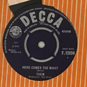 THEM Here Comes The Night   1965 UK Decca Beat 7""