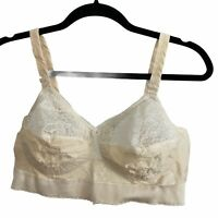 Vintage Sears Ivory Lacy Full Support Bullet Bra Lingerie 42 B No Underwire