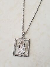 Rhodium plated virgen de Guadalupe necklace 18""