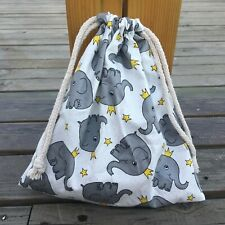 1pc Cotton Twill Drawstring Organizer Bag Party Gift Bag Print Elephant White S