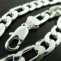 Mens Real 925 Sterling Silver S/F Necklace Chain Solid Heavy Figaro Statement