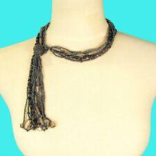 "16"" Black Hematite Shell Chip Tassel Handmade Seed Bead Non Metal Necklace"