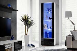 Vitrine LED Hochglanz Highboard Hochschrank T40 Möbel Speicherung Hochglanz&Holz