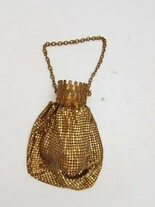 20s Gold-Tone Whiting Davis Reticule Accordion Pouch Purse Flapper Style NO TOP
