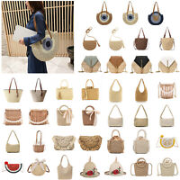 Straw Rattan Bag Woven Beach Female Messenger Shoulder Crossbody Bags Handbag