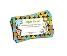 NEW Jungle Printed Diaper Raffle Tickets Boy Neutral Baby Shower 50 cards