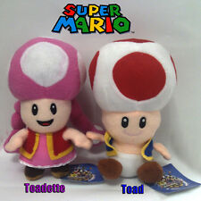 "2X Super Mario Bros Plush Male Toad Female Toadette Soft Toy Stuffed Animal 6"""