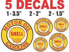 5 Round Shell Gasoline Motor Oil Vinyl Decals