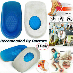 Orthotic Gel Heel Insoles Support Cushion Pad Cup For Plantar Fasciitis Pain