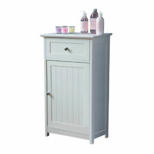 Portland Floor Standing White Storage Cabinet With Top Drawer For Home Office