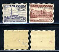 1937 Poland Pologne Port Gdansk 2-Stamp Set SC308 & 310 A65 MNH OG