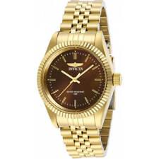 Invicta Specialty Reloj De Mujer Cuarzo Esfera Marrón Pulsera De Oro Amarillo 29410