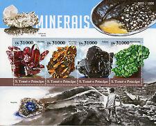 Sao Tome & Principe 2015 MNH Minerals 4v M/S Proustite Wulfenite Metatorbernite