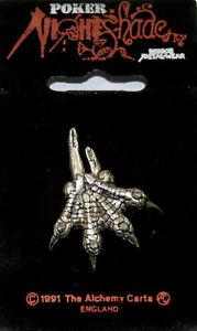 Alchemy Gothic Poker Rox NIGHTSHADE  Dinosaur Claw Jurassic  Lapel Pin Clasp
