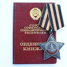Original Russian Soviet Army USSR SILVER Order Glory 3rd Class SN 755.153 + DOC