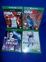 Lot of 4 XBox One;NBA 2K15, NBA 2K17,Both w/ Mans,FIFA 14,Madden NFL 15,VG,FR SH