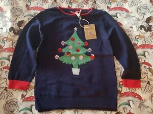 Joules Miranda navy blue Girls Christmas Tree Sequin Jumper Age 5 Years unisex