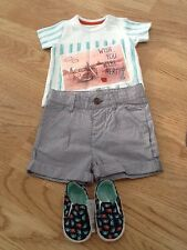Baby Boys Size 3-6 Months Retro T-Shirt, Shorts & Shoes - Brand New With Tags