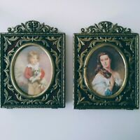 Vintage ornate victorian style photo frames set of 2 vtg brass & velvet pictures