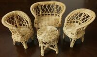 """Vintage 4 Piece Rattan Wicker 5"""" Doll Furniture Set"""