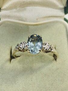 9CT Gold Diamonds And Genuine Aquamarine Engagement Ring Hallmarked