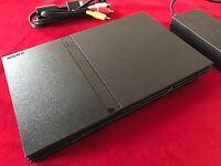 PS2 Konsole Slim Schwarz Sony Playstation 2 PAL + Alle Kabel Voll Funktionsfähig