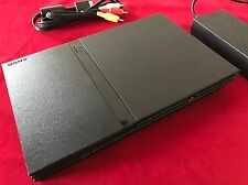 PS2 Konsole Slim Schwarz Sony Playstation 2 PAL + Alle Kabel Voll Funktionsfähig