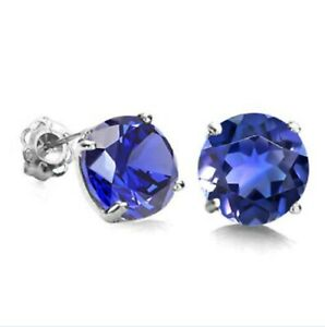10 CARAT SOLID WHITE GOLD TANZANITE EARRINGS 1.71 CARAT AAA
