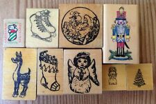Lot of 9 Christmas Rubber Stamps Santa Stocking Nutcracker Ice Skates Vintage