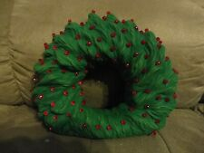 Vintage Light Up Ceramic Christmas Green Wreath Red