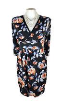 LEONA EDMISTON Dress - Vintage Floral Pleat Black Blue Red 3/4 Sleeve Wrap - 14