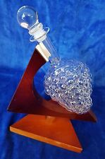 Fine Glass Grape Decanter on Wood Stand & Glass Stopper 800ml Capacity